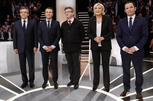 'Yan takarar Shugabancin Faransa guda 5 François Fillon da Emmanuel Macron da Jean-Luc Melenchon da Marine Le Pen da Benoit Hamon