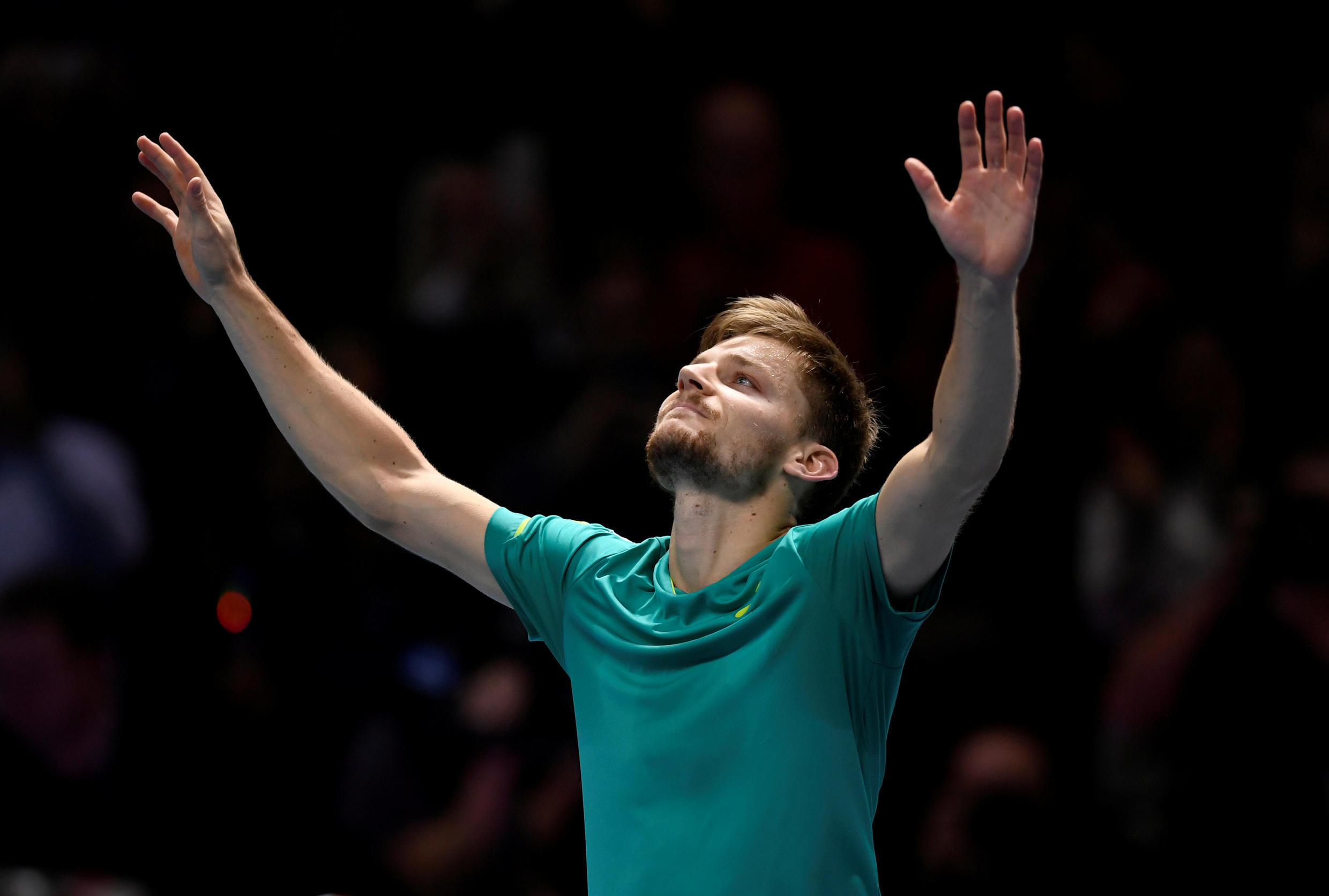 David Goffin beat top seed Rafael Nadal in his first match at the ATP Finals on Monday.