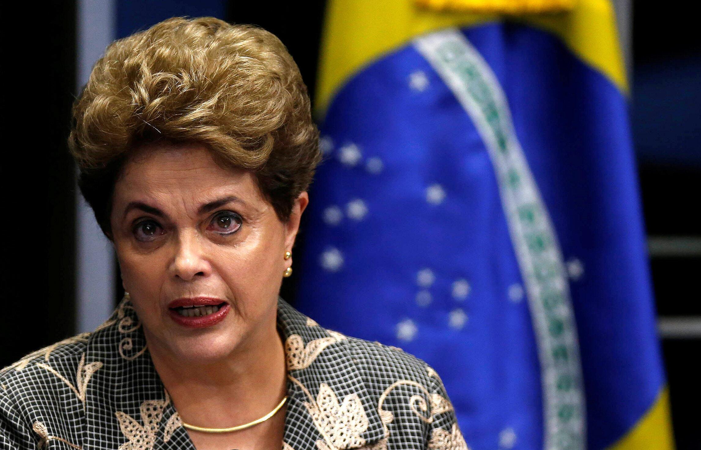 La présidente brésilienne Dilma Rousseff, lundi 29 août au Sénat, pour défendre sa cause avant le vote sur sa destitution.
