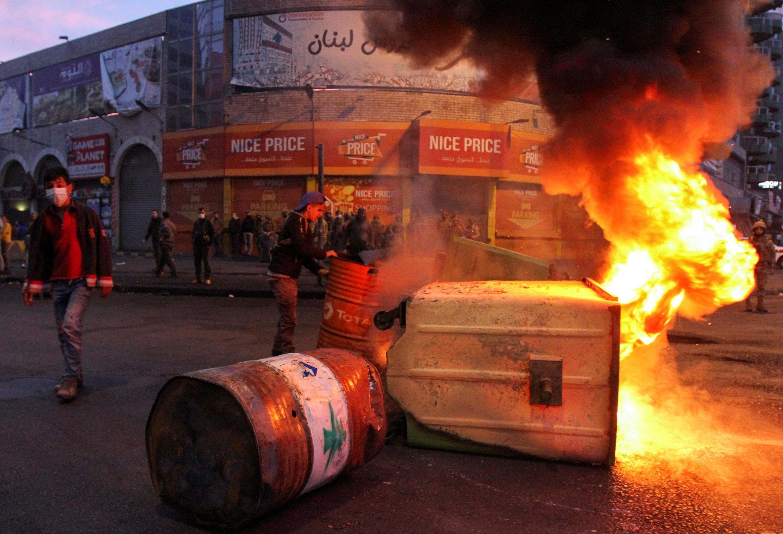 Tripoli, au Liban-Nord, plonge dans la violence, le 26 janvier 2021.