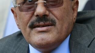 Le  président yéménite  Ali Abdallah Saleh lors d'une manifestation pro-gouvernementale, à Sanaa, le 13 mai 2011.