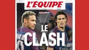 A briga entre os atacantes do PSG, Neymar e Cavani, é capa do jornal francês L'Equipe desta terça-feira (19).