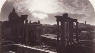 Rome, clair de lune sur le Forum, vers 1865, Gioacchino Altobelli.