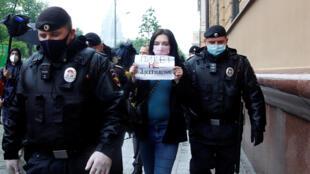 Задержание за одиночный пикет в Москве