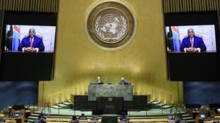 Le président de la RDC, Félix Tshisekedi, lors de son discours en vidéo à l'Assemblée générale annuelle de l'ONU.