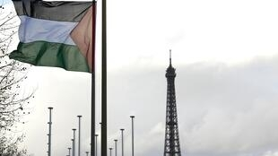The Palestinian flag flies at Unesco HQ in Paris after the Palestinians were admitted to membership with French support
