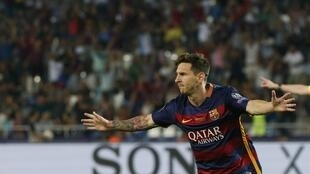 Lionel Messi scored twice during Barcelona's 5-4 victory over Sevilla in the final of the European Super Cup.