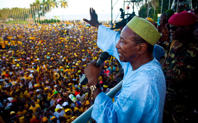 Presidential candidate Alpha Conde appeals for calm last week