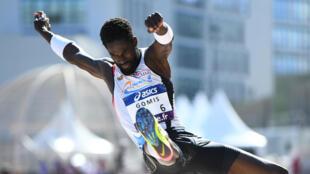 Le Français Kafetien Gomis, triple champion de France du saut en longueur.