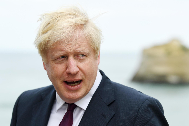 O primeiro-ministro britânico, Boris Johnson, durante coletiva em Biarritz, França, em 25 de agosto de 2019.