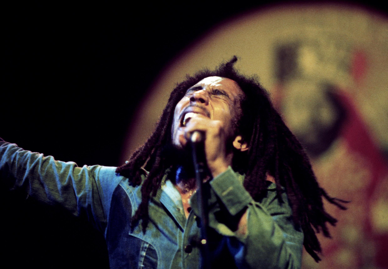 Bob Marley au Rainbow Theatre de Londres à la fin de son Exodus Tour, le 4 juin 1977.