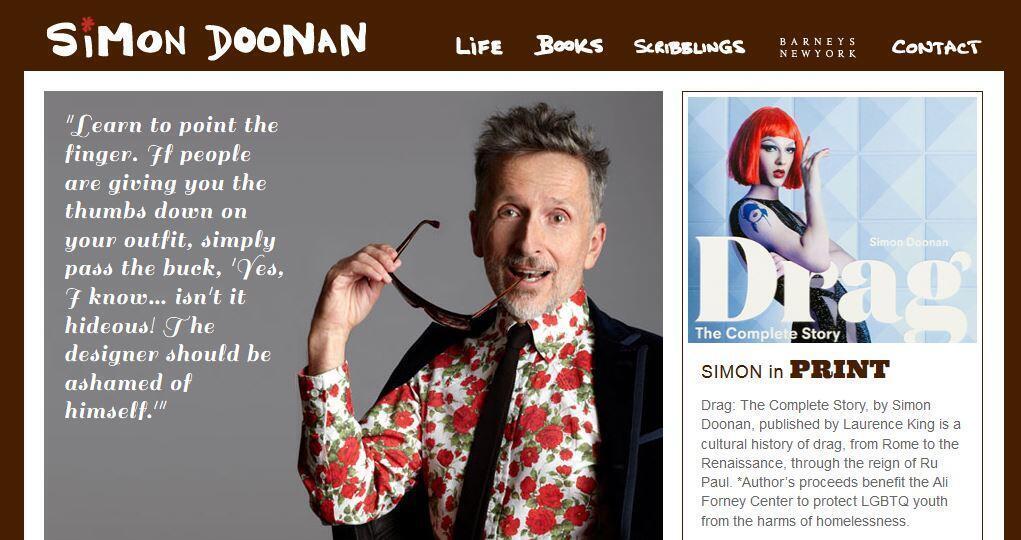 Simon Doonan as seen on his website homepage