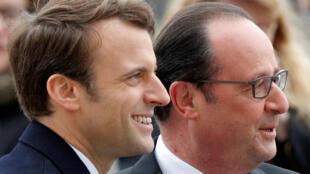 Emmanuel Macron con el presidente saliente François Hollande, este 8 de mayo en París.