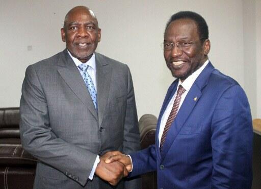 Le président par intérim, Dioncounda Traoré (D) et le Premier ministre Cheikh Modibo Diarra, le 18 avril 2012.