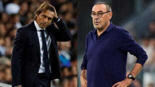 Les entraîneurs Antonio Conte (Inter de Milan) et Maurizio Sarri (Juventus Turin).
