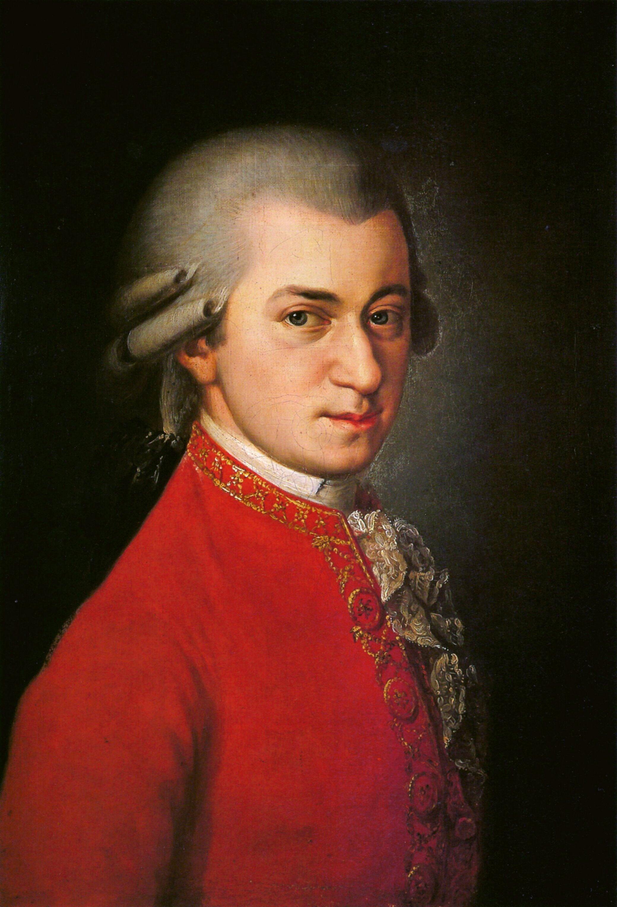 Portrait of Wolfgang Amadeus Mozart painted by Barbara Kraft (1819)