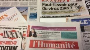 Primeiras páginas dos diários franceses 1/02/2015