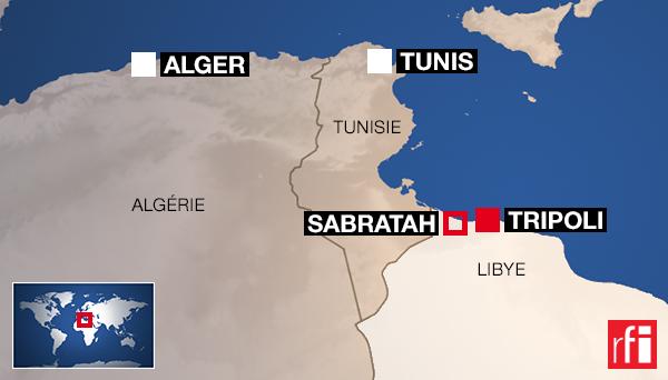 Sabratah se situe à 70 km à l'ouest de Tripoli.