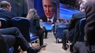 Jornalistas na conferência de imprensa do presidente da Rússia, Vladimir Putin, nesta quinta-feira.