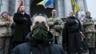 Активисты проводят народное вече на Майдане, 21 февраля 2016 г.