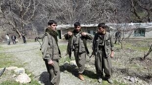 Des combattants du PKK, dans les montagnes de Quandil, en Irak, à proximité de la frontière avec la Turquie.