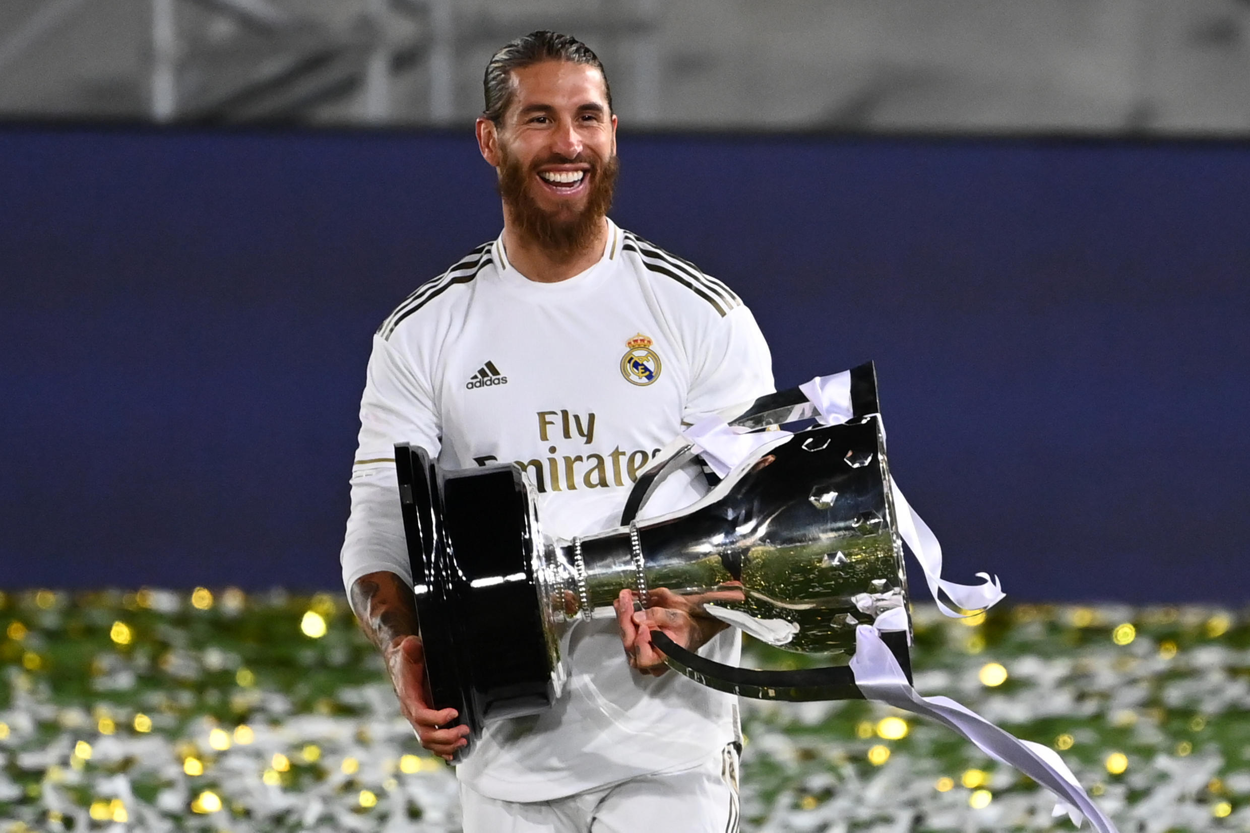 Sergio Ramos won five Spanish league titles with Real, the last of them in July 2020