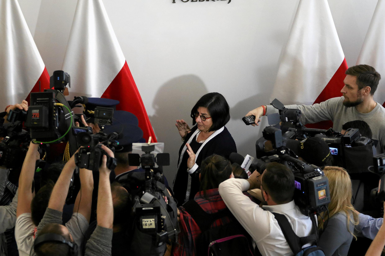 Đại sứ Israel tại Ba Lan Anna Azari, phát biểu với báo giới sau cuộc gặp với thượng nghị sĩ Ba Lan Marshal Stanislaw Karczewski, Vaxava, ngày 31/01/2018