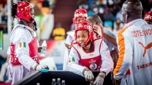 Lors de la Coupe du monde par équipes 2017 de taekwondo, organisée en Côte d'Ivoire.