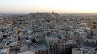 Không ảnh thành phố Aleppo sau các trận oanh kích của không quân Nga và Syria.