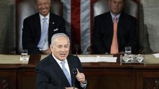 Израильский премьер-министр Беньямин Нетаньяху выступает перед  Конгрессом США 24/05/2011
