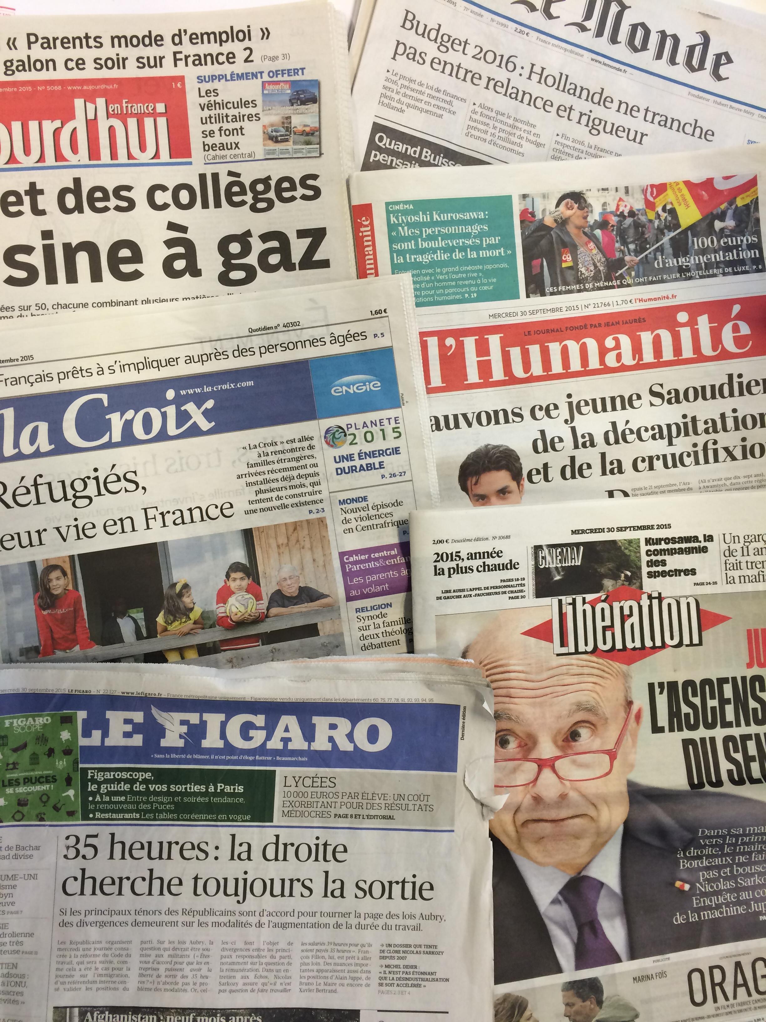 Primeira páginas dos diários franceses de 30/09/2015