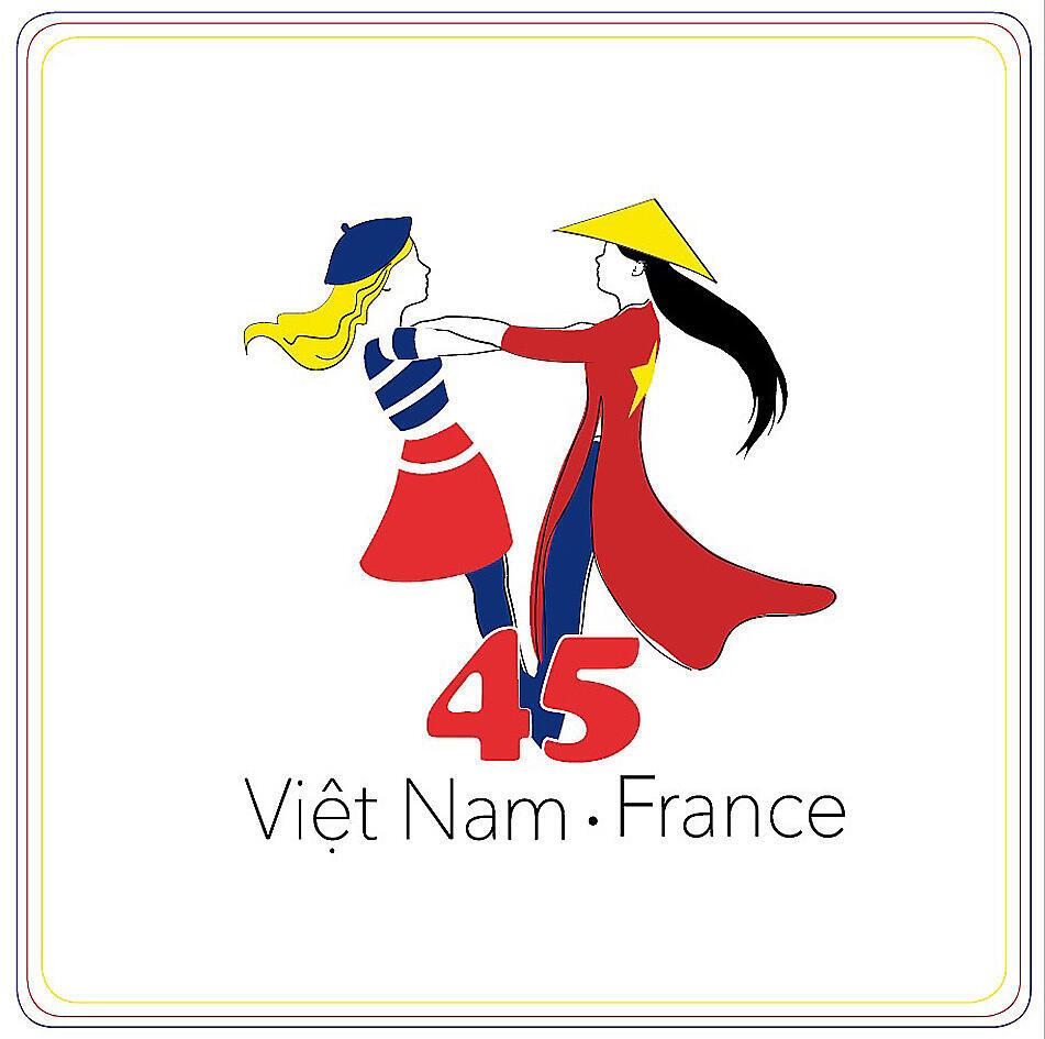 Logo kỉ niệm 45 năm quan hệ Pháp - Việt Nam.