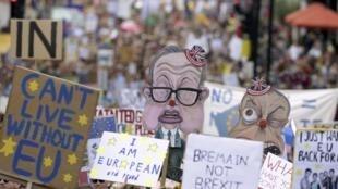 9 ngày sau cuộc trưng cầu dân ý Brexit, hàng ngàn người dân Anh tuần hành thể hiện sự gắn bó với Liên Hiệp Châu Âu. Ảnh chụp ngày 02/07/2016 tại Luân Đôn.