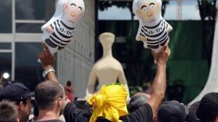 Manifestações contra o governo da presidente Dilma Rousseff, em brasília, no mês de março de 2016.