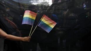 Manifestación en defensa de los derechos homosexuales, este 11 de diciembre de 2013 en Nueva Delhi.