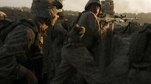 Opération militaire américaine, en octobre 2009, contre des talibans dans la province d'Helmand dans le sud-ouest de l'Afghanistan.
