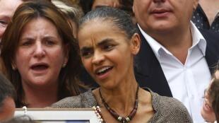 Marina Silva durante o funeral de Eduardo Campos.