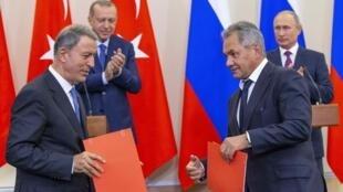 俄罗斯总统普京于周一(17日)在黑海城巿索契与土耳其总统埃尔多安会晤