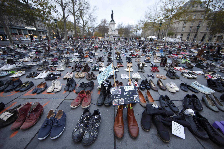 Shoes sent by people who would have marched in Paris on Sunday were laid out in the Place de la République