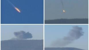 Imagens da televisão mostram queda do Su-24 na fronteira entre Síria e Turquia