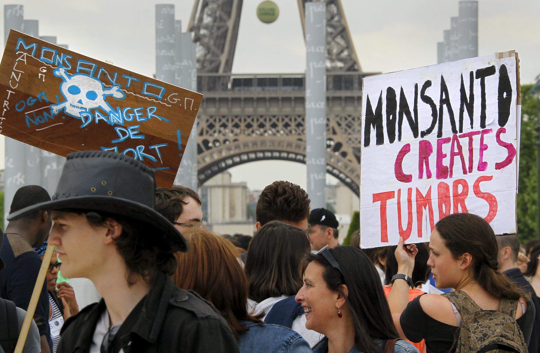 Manifestación contra Monsanto en París, el 23 de mayo de 2015.