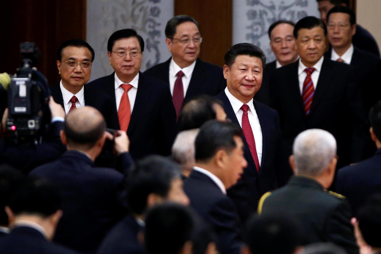 Chủ tịchTập Cận Bình (G), thủ tướng Lý Khắc Cường (T) và nhiều lãnh đạo cao cấp Trung Quốc TQ trong ngày lễ Quốc Khánh 01/10/2016 tại Bắc Kinh