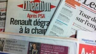 Capas de jornais franceses.