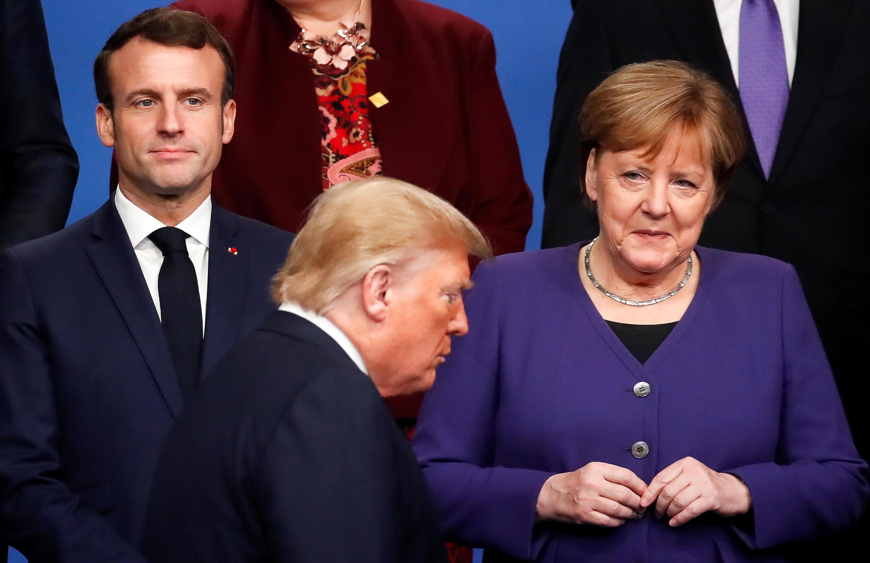 美德法三国领导人在伦敦北约峰会上同台,2019年12月4号