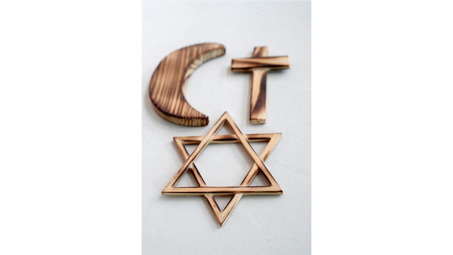 symboles religieux_monothéistes_catho_juif_musulman getty images