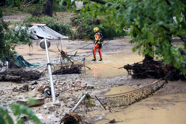 Затопленный кемпинг в Сен-Жульен-де-Пейрола, 9 августа 2018.