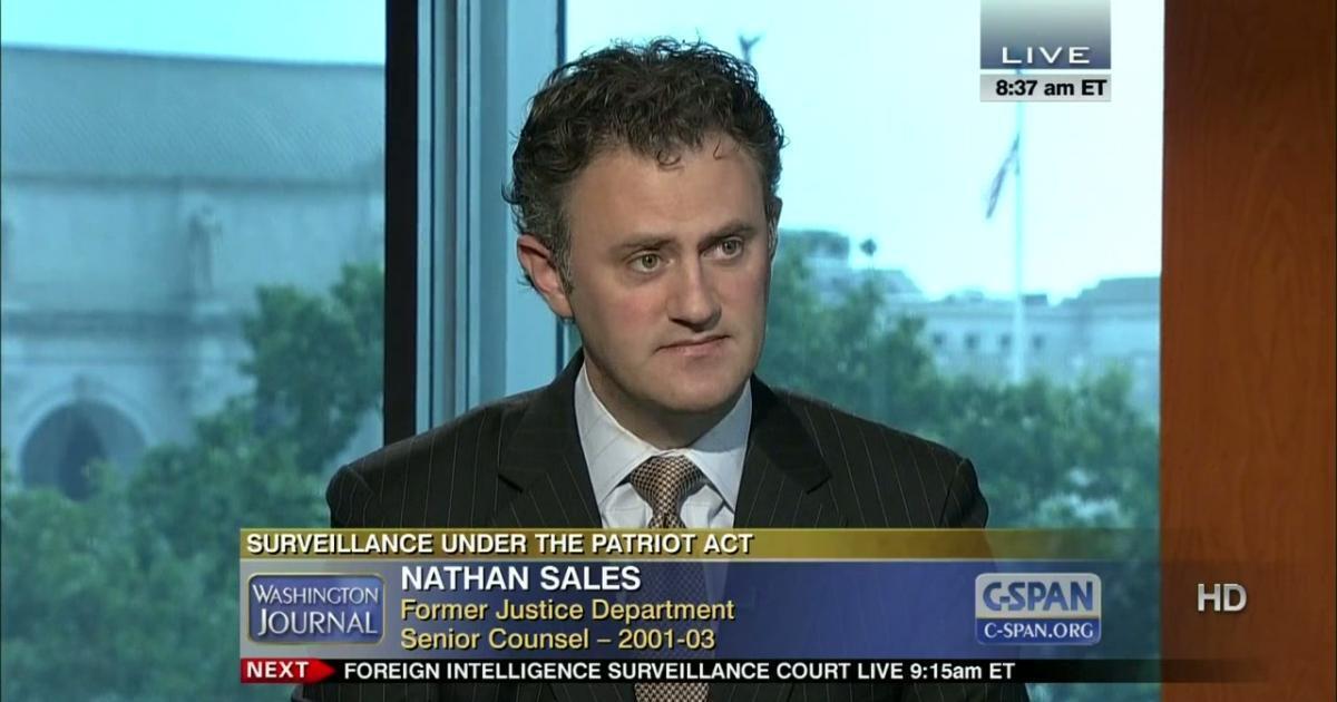 Nathan A. Sales integrou o Derpartamento de Justiça dos EUA entre 2001 e 2003.