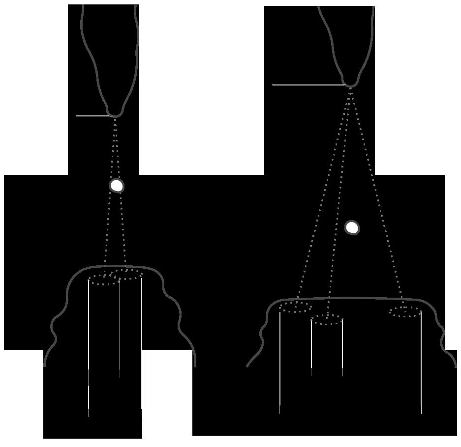 Ilustración que muestra la trayectoria desviada de una gota de agua que parte de la misma estalactita. Esta micro desviación determina la forma futura de la estalagmita.