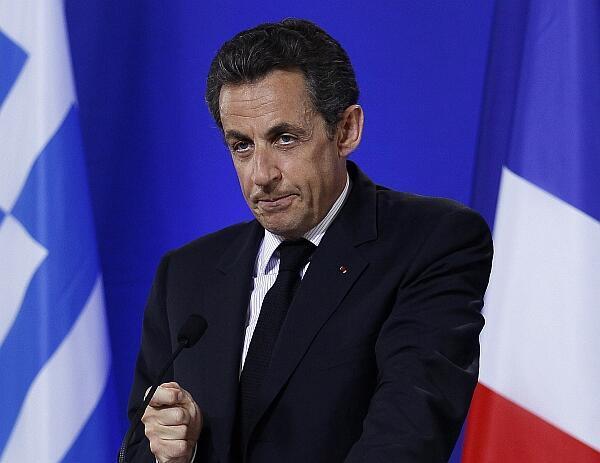 El presidente francés Nicolas Sarkozy tras la cumbre de la Zona Euro, el 8 de mayo.