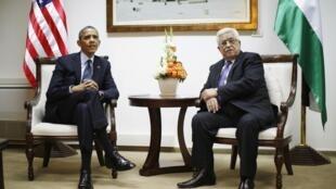Rais wa Marekani Barrack Obama na mwenyeji wake Mahmud Abbas wa Palestina